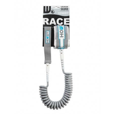 Stand-up paddle 9' silver white coiled leash