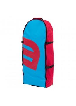 Sac de transport bleu et rouge à roulettes pour paddle gonflable ou kite