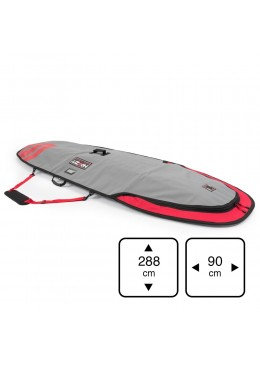 Housse de transport motif gris et rouge pour stand-up paddle 9'