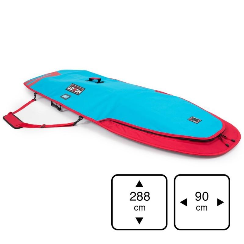 Housse de transport motif bleu et rouge pour stand-up paddle 9'