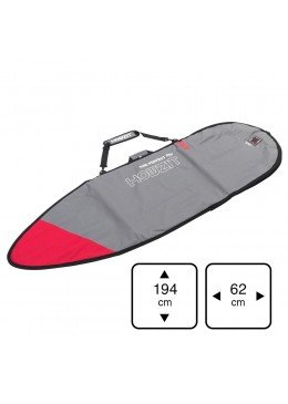 Grey and red board bag for 6' surf shortboard