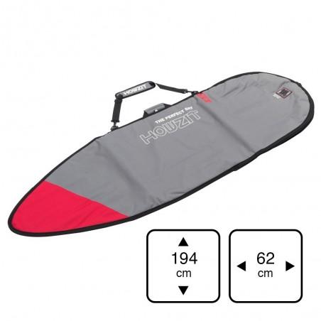 Housse grise et rouge pour surf shortboard 6'