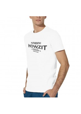 "Tee Shirt Crew Neck White ""Howzit Co"" Men"