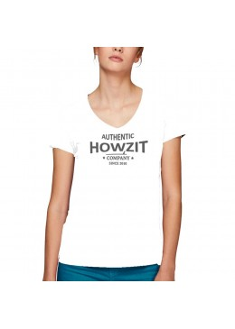 "Tee Shirt V Neck White ""Howzit Co"" Women"