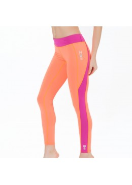legging en lycra orange pour la pratique du fitness, yoga, surf et paddle