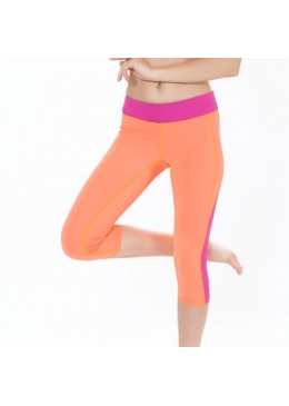 legging court lycra orange pour la pratique du Fitness, Yoga, et paddle