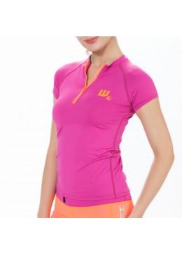 Top lycra zip SIRENE femme Pink pour la pratique du surf