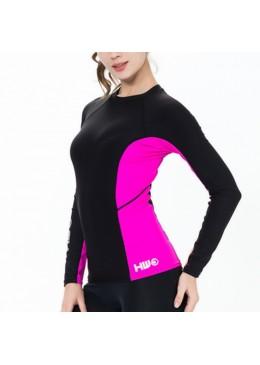 T-shirt surf pour femme manches longues lycra polaire rose et noir