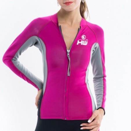 Jacket LUNA Néoprene Woman Pink / Grey
