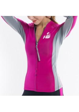 Veste LUNA Néoprène Femme rose et grise pour la pratique du surf, longboard et paddle