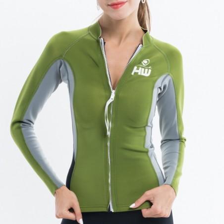 Jacket LUNA Néoprene Woman Kaki / Grey