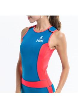 longjohn féminin orange et bleu  pour la pratique du paddle et du surf