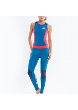 longjohn féminin orange et bleu  pour la pratique du surf