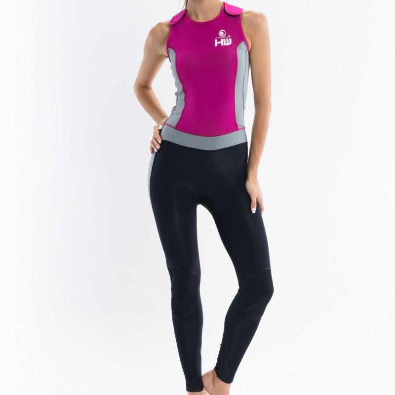 longjohn féminin rose et gris  pour la pratique du longboard