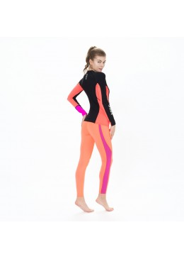 tee shirt sous couche polaire pour femme orange et noir