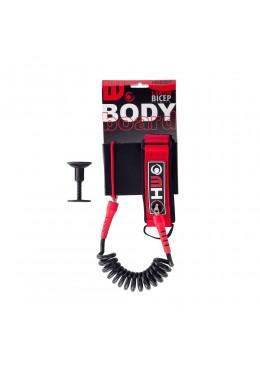Leash Bodyboard 4' Biceps rouge et noir