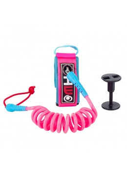 Leash Bodyboard 4' Biceps rose et bleu