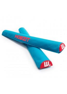 Paire de mousses de protection aqua de 74 cm pour les barres de toit profilées pour Paddle, longboard, surf et kayak
