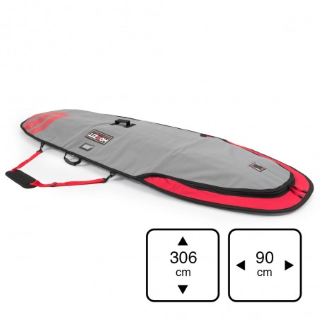 Housse de transport motif gris et rouge pour stand-up paddle 9'6