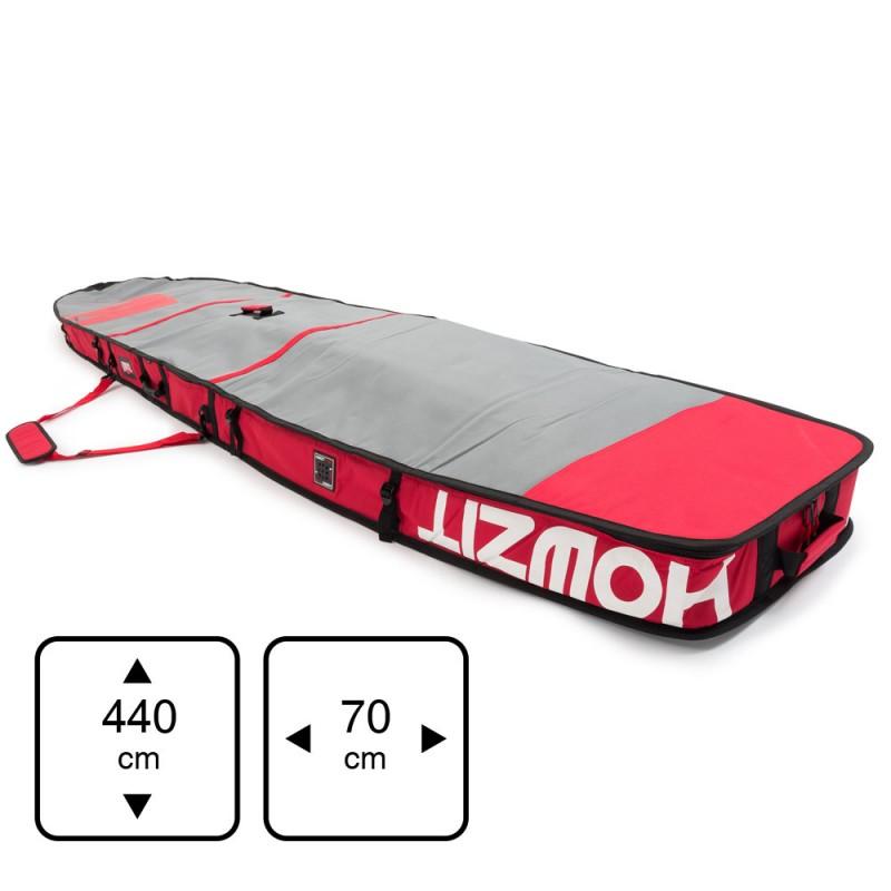 Housse de transport motif gris et rouge pour stand-up paddle race 14'