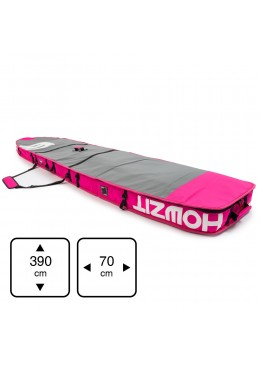 Housse de transport motif gris et rose pour stand-up paddle race 12'6