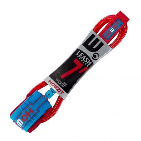 leash straight 8' red blue for stand up paddle