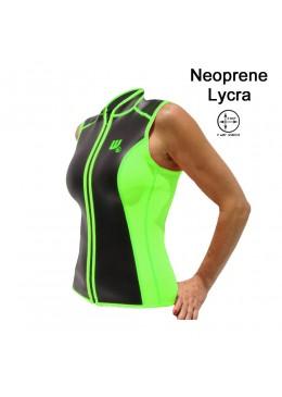 Gilet SKIN Néoprène 2 MM Femme lime et noire pour la pratique du paddle