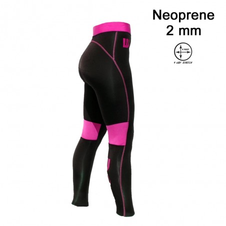 Pantalon surf & SUP Neoprene Femme Black / Pink