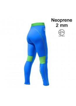 Pantalon surf & SUP Neoprene Femme Saphir / Lime