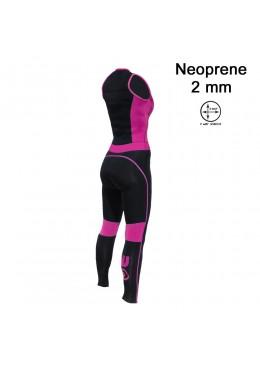 women longjohn Neoprene black and pink for surfing