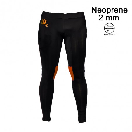 Pantalon neoprene 2 mm homme noir et orange