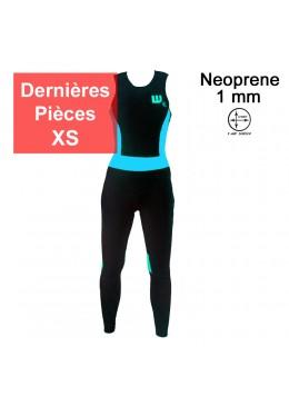 longjohn féminin noir et bleu pour la pratique du paddle et du surf