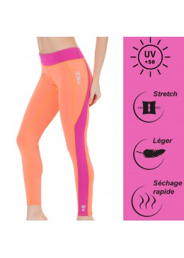 legging en lycra orange pour la pratique du fitness, yoga, surf et paddle
