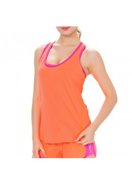 Débardeur femme lycra orange pour la pratique du Fitness, Yoga, et paddle