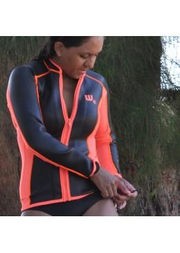 Veste SKIN Néoprène 2 MM Femme orange et noire pour la pratique du paddle